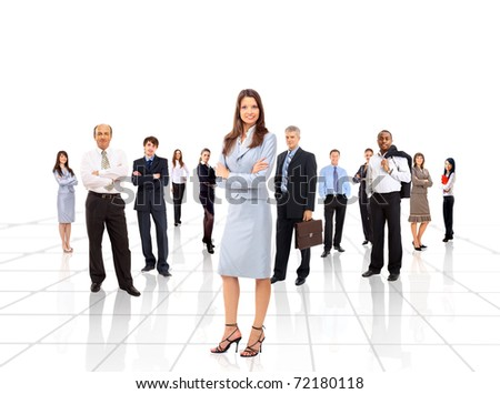 businesswoman and his team isolated over a white background