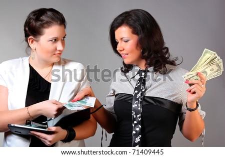 Businesswoman  and money - stock photo