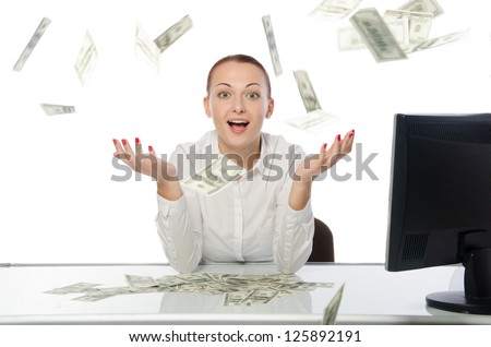 businesswoman and money. Bills falling on the head. Isolated on white background