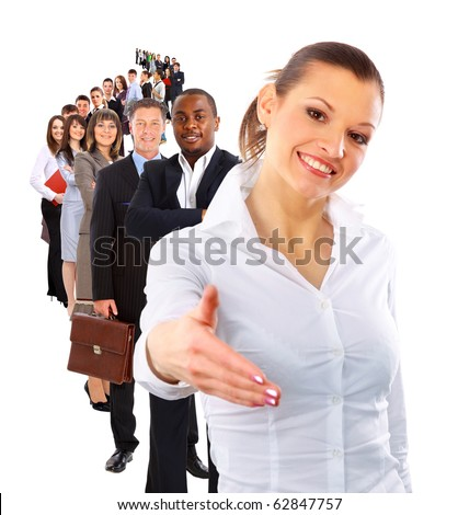 businesswoman and shis team - stock photo