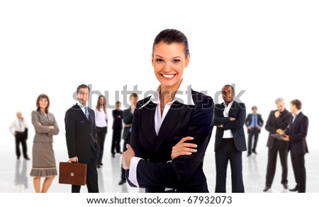 businesswoman and shis team isolated over a white background - stock photo