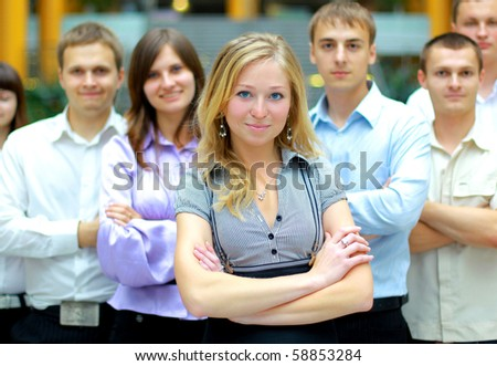 businesswoman and team - stock photo