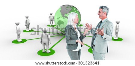 businesswoman angry against her colleague arguing against 3d men connected with earth - stock photo