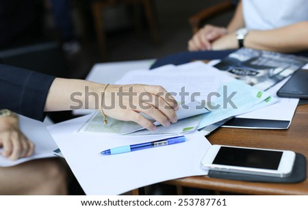 Businesswoman are prepare a contract documents agreement - stock photo