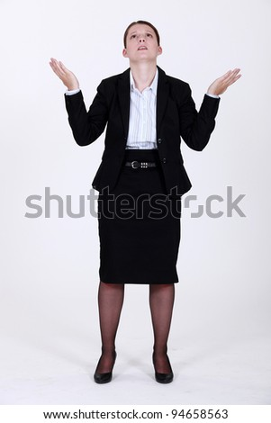Businesswoman asking why - stock photo