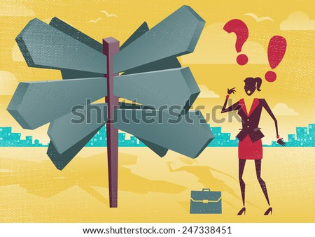 Businesswoman at a Blank Sign Post Dilemma.  Great illustration of Retro styled Businesswoman with a selection of Business options and choices to make. All recruitment Agencies need one of these! - stock photo