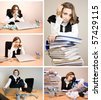 Businesswoman at office in different situation - stock photo