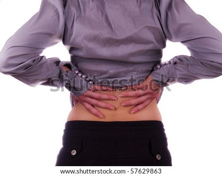 Businesswoman back pain isolated on white - stock photo