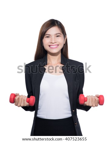 businesswoman balancing life work and fitness over white background. Portrait of happy beautiful office woman doing fitness exercise - stock photo