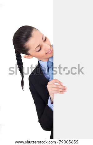 businesswoman behind the white board,  female holding sign or board,  isolated on white background - stock photo