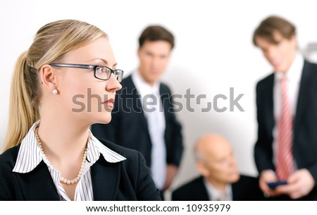 Businesswoman being excluded - stock photo