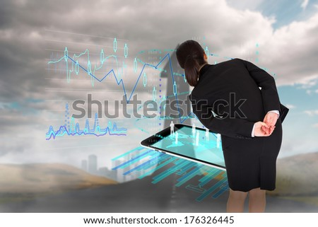 Businesswoman bending against road turning into arrow