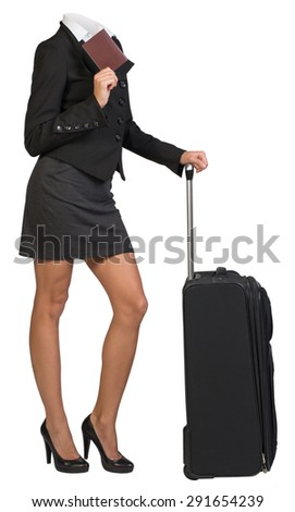 Businesswoman body standing with flight bag and passport on isolated background