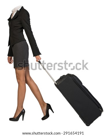 Businesswoman body without head walking with flight bag on isolated background