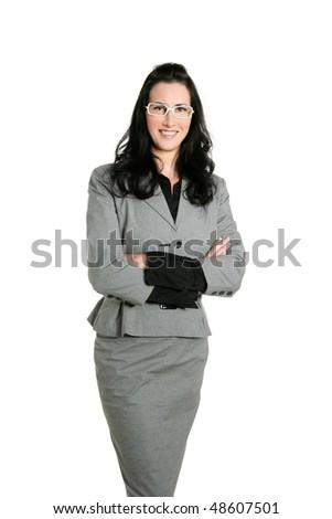 Businesswoman brunette gray suit portrait white background - stock photo