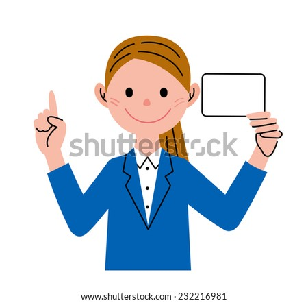 Businesswoman Card Pointing - stock photo