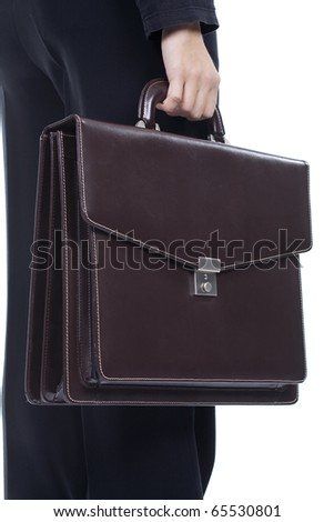 businesswoman carrying suitcase on white background