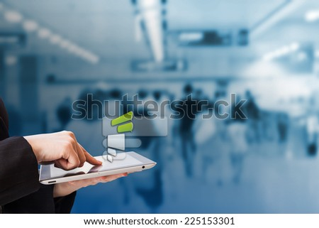 Businesswoman chatting job with digital tablet - stock photo