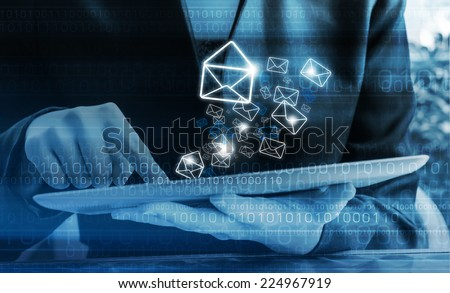 Businesswoman checking email  - stock photo