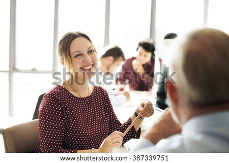 Businesswoman Cheerful Smiling Beautiful Smart Concept - stock photo
