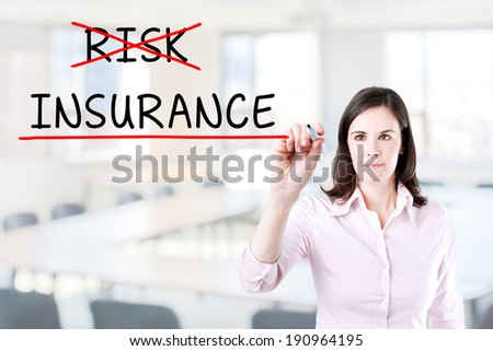 Businesswoman choosing Insurance instead of Risk. Office background. - stock photo
