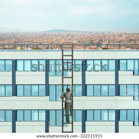 Businesswoman climbing the ladder to the skyscraper roof - stock photo