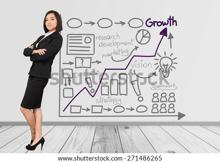 Businesswoman. Close-up of a businesswoman leaning against something - stock photo
