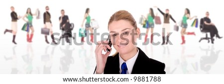 Businesswoman communication over businesspeople.