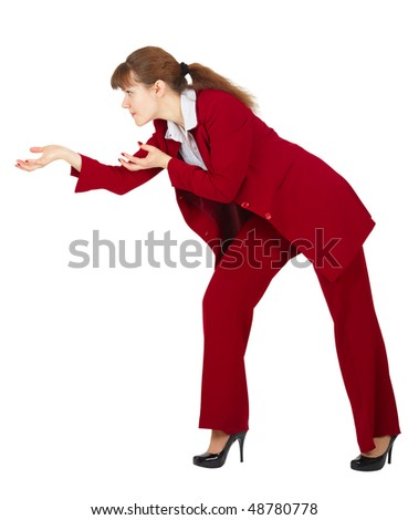 Businesswoman conjures isolated on a white background