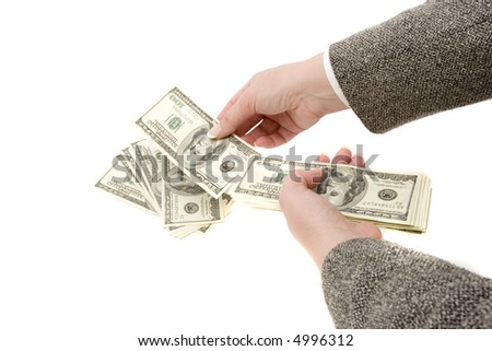Businesswoman counting hundred dollar bills - stock photo