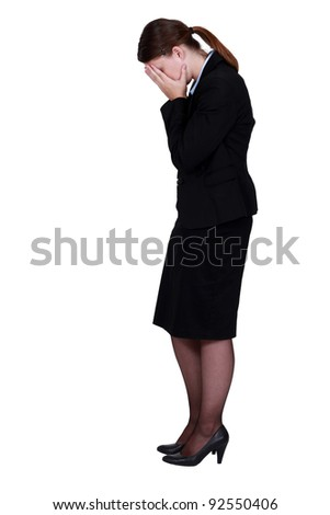 businesswoman crying - stock photo