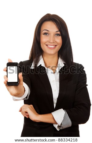 businesswoman displaying mobile phone isolated touch screen on white background