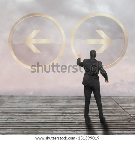 Businesswoman doing decision - business concept - stock photo