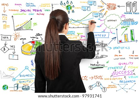 Businesswoman draw modern business concept - stock photo