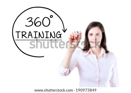 Businesswoman drawing a 360 degrees Training concept on the virtual screen. - stock photo