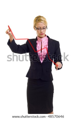 Businesswoman drawing a graph - crisis , over white - stock photo