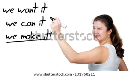 Businesswoman drawing an motivation concept on a whiteboard - stock photo