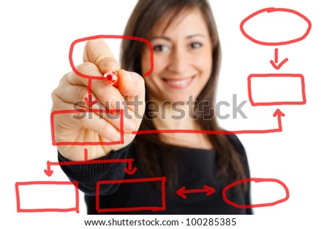 Businesswoman drawing an organization chart on the screen - stock photo