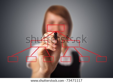 Businesswoman drawing diagram on a whiteboard. woman in bokeh 2