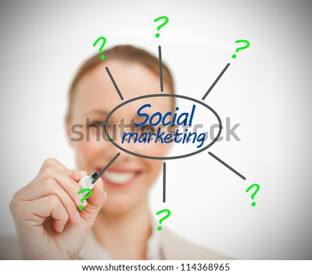 Businesswoman drawing social marketing brainstorm - stock photo