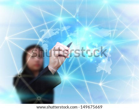 businesswoman drawing social media network communication  - stock photo