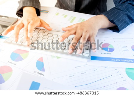 Businesswoman examine finance, statistics and analytic research concept