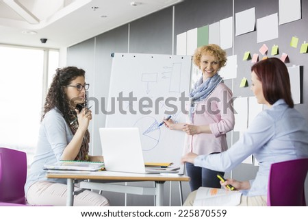 Businesswoman explaining pie chart to colleagues in creative office