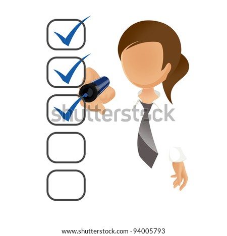 Businesswoman filling a checklist on screen isolated on white
