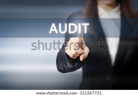 businesswoman, Focus on hand pressing audit button on virtual screens, business concept. - stock photo