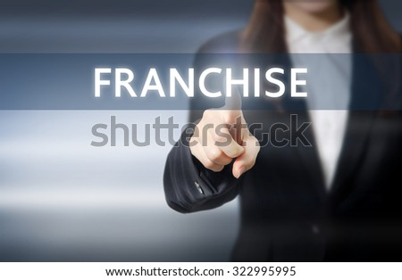 businesswoman, Focus on hand pressing franchise button on virtual screens, business concept. - stock photo