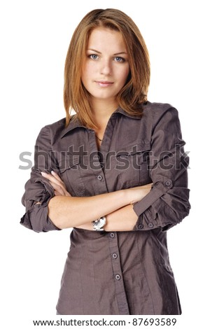 Businesswoman folding her arms. Isolated over white - stock photo