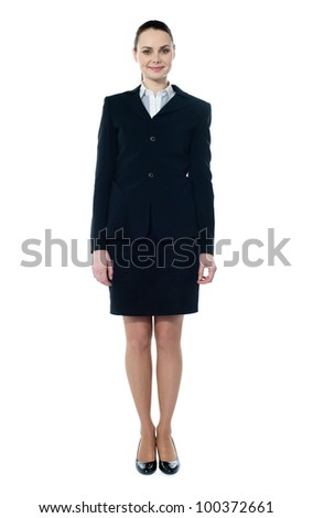 Businesswoman full body standing isolated on white - stock photo