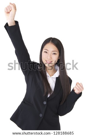 Businesswoman gave a fist - stock photo