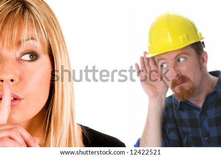 businesswoman gestures for silence, shhhh and construction worker listening